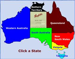 Australsk vin - Western Australia er Australiens største stat som dækker den vestlige tredjedel af kontinentet, selvom vinregionerne  næsten udelukkende er koncentreret i den sydvestlige del af staten. Læs: Western Australia.I midten af det australske kontinent ligger South Australia. Denne stat er vinindustri's kraftcenter og producerer de fleste af landets vine og praler samtidig med at have nogle af landets ældste vinstokke. Læs: South Australia.      for nylig var Queensland ikke kendt som et vinproducerende område. Det blev anset for at ligge for tæt på det tropiske klima og dermed for varmt til at producerer kvalitetsvine. Læs: Queensland. New South Wales var den første stat i Australien der blev koloniseret af europæere og derefter den første stat til at dyrke vine. Læs: New South Wales.  Victoria er kendt for varme klima-regioner som Murray Darling og Swan Hill langs Murray-floden i den nordvestlige del af staten. Længere mod øst langs Murray-floden, har regionen Rutherglen et ry for enestående hedvin. Læs: Victoria.  smanien ligger selvfølgelig adskilt fra fastlandet ved det smalle Bassstræde, som er et oprørt farvand der måler ca. 240 kilometer i bredden. Tasmanien er Australien sydligste stat, klimaet minder mest om det kølige Europa. Måske derfor giver Pinot Noir flotte resultater. Læs: Tasmania.